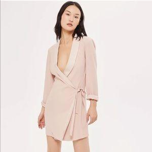 TOPSHOP Tie Side Blazer Dress Blush Pink 6